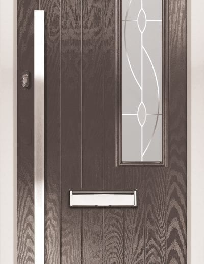 Modern 1 Right Shown With Aurora Glass & 1500mm Rectangular Stainless SteelHandle