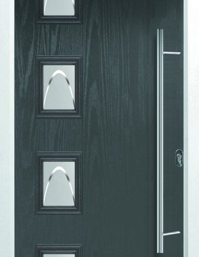 Modern 4 Left Shown With Crescent Glass & 1200mm Offset Round Stainless Steel Handle
